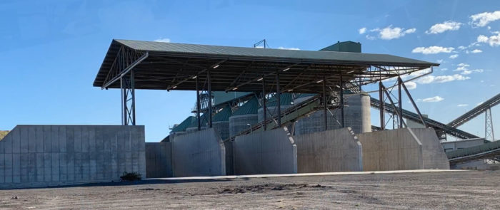 Crushed Rock Pre-Coat Plant – Radial stacker in the background.